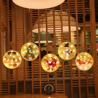 Wholesale hanging curtain lights resale online - Christmas Tree Round Light LED Colorful Painting Hanging Ornament Light Battery Curtain Lights New Year Gift Party Decoration GWB2691