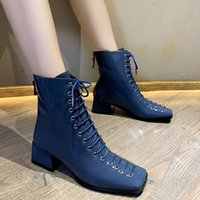 Wholesale designer patent leather boots for sale - Group buy Dm492 Martin Women Autumn Patent Leather Square Toe Platform Lace up Ankle Comfortable Woman Boots Botas Mujer