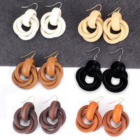 Wholesale black spiral earrings for sale - Group buy Europe And The United States Wind Spiral Fashion Wooden Earrings Women Ring The National Wind Wind Fashion Earrings Personalized Earrings