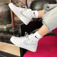 Wholesale white air forces high top resale online - Chun Qiu AJ air force No ins ultra fire small white shoes female student Korean version of versatile high top ulzzang ki