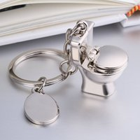 Wholesale 3d keychains resale online - Creative Metal Toilet Model Closestool Keyrings Stool Keychains for Sanitary Ware Bathroom Keyfob D Pendant Party Gifts FWA1924