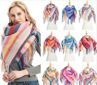Wholesale loop yarns for sale - Group buy European and American new loop yarn striped Plaid polyester long tassel scarf scarf for women and men s neck shawl Y201007