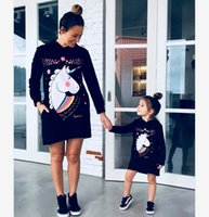 Wholesale mother daughter denim resale online - Mother And Daughter Unicorn Printed Hooded Sweatshirt dress Girls Cartoon Printed Jumper Mommy And Me Matching Clothing A4668