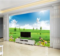 Wholesale green grass home decor for sale - Group buy Custom Any Size D Mural Wallpaper Green Grass Original Flowers Birds Landscape Home Decor Living Room Wall Covering