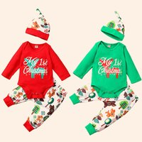 hat romper baby costumes 2021 - Christmas Infant Newborn Kids Baby Girls Boys Outfits Clothes 3Pcs Romper+Pants+Hat Set Costumes gar?ons et filles baby clothes 1021