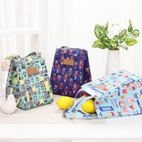 Wholesale lunch bag insulated resale online - Folding Insulated Lunch Handbag Camping Aluminum Foil Large Capacity Portable Food Bags Waterproof Oxford Cloth Print Lunch Bag GWE2615