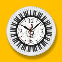 Wholesale white digital wall clock resale online - Piano Keyboard Treble Clef Wall Art Modern Wall Clock Musical Notes Black and White Wall Watch Music Studio Decor Clock