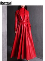 red long leather trench 2021 - Nerazzurri high quality red black maxi leather trench coat for women long sleeve extra long skirted overcoat plus size fashion LJ201126