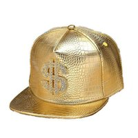 Wholesale hip hop disco for sale - Group buy Upper Class Shining Diamond Money Flat Hip Hop Hat Artificial Leather Autumn Winter Men Women Outdoor Retro Disco Caps PY25