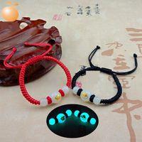 Wholesale chinese men bracelet for sale - Group buy sUriV H transfer bracelet men and women lovers hand string Chinese Zodiac luminous woven pearl red rope Luminous bracelet bracelet for