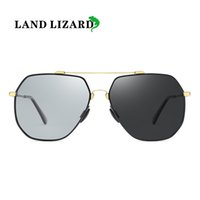 Wholesale mirror land for sale - Group buy new memory metal polarized discoloration fishing big frame frog mirror men women sunglasses LAND LIZARD