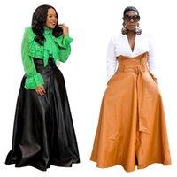 Charming Lady Leather Long Skirt 2021 Newest Coming Irregular High Waist A line Floor Length Fashionable Women PU Skirts with Sash