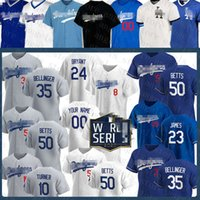 Wholesale 2020 Cody Bellinger Enrique Hernandez Mookie Betts Custom Baseball Los Jersey Angeles Seager Justin Turner Dodgers Bryant Piazza James Ryu