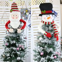 Wholesale large christmas tree resale online - Large Christmas Tree Topper Decoration Santa Snowman Reindeer Hugger Xmas Holiday Winter Party Ornament Supplies AHE1257