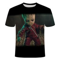 ingrosso baby groove-Supereroe Groot Movie Guardian of the Galaxy T Shirt Summer New Men's Stampa 3D uomo e donna Baby Groot Flowerpot Groot Tshirt SQCBZQ