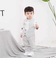 Wholesale boys waistcoat outfit resale online - Baby Boys Wiastcoat Outfit Baby Kids Bows Tie Lapel Long Sleeve Romper Waistcoats Pants sets Children Gentleman Outfits A4681