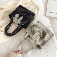 Wholesale korean weave handbags for sale - Group buy Women new wave Korean Joker Pearl String woven texture fashion handbag fairy bag