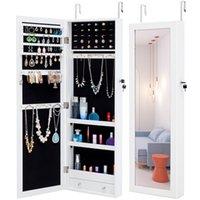 Wholesale white wood framed mirror resale online - WACO New Fashion Jewelry Storage Mirror Cabinet inch Wall mounted or Hanging Jewelry Armoire Organizer Rack Shelf Mirror w Lock White