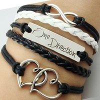 Wholesale sports direction resale online - Infinity Love One Direction Double Heart Bracelet for Women Men Friendship Charm Bracelets Wrap Multi layer Bracelet Jewelry