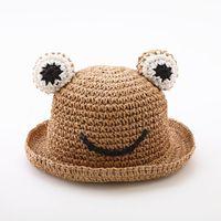 Wholesale new kids blocks for sale - Group buy 2020 New Cartoon Frog Summer Straw Hat For Kids Sun Hat Child Beach Cap Baby Girl Boy Sun Block Uv Protection Panama sqcGfv pingtoy