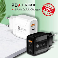 50 pcs Type-C 20W PD and QC 3.0 dual ports USB Fast Wall Charger with US EU UK Plug for IPhone 12 11 pro max Ipad Xiaomin Huawei Mobile Phone