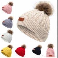 Wholesale kids faux fur hats for sale - Group buy Faux Fur Pom Pom Beanie For Kids Boys Girls Hot Children Winter Warm Knit Hats Caps Snow Beanies for Y kids