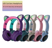 Wholesale wireless bt headphones resale online - Cute Cat Ears Wireless Headphone Flashing Glowing Led Light Gaming Headset for Girl Gift Colorful BT HIFI Stereo Music with Microphone
