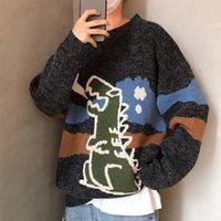 Wholesale knitted dinosaur resale online - Pullovers Men Dinosaur Cartoon Print Knitted O Neck Winter Thicker Chic Streetwear Outwear Couples Trendy Leisure Loose Ulzzang