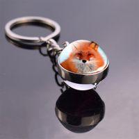 Wholesale fox ball key chains for sale - Group buy Cute Fox Animal Glass Ball Key Chain Fashion double side keyring Metal Car Keychain Purse Charm Gift for Friend