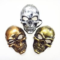 Wholesale burgundy masquerade mask for sale - Group buy Halloween Adults Skull Mask Plastic Ghost Horror Mask Gold Silver Skull Face Masks Unisex Halloween Masquerade Party Masks Prop DBC VT0943