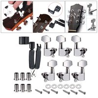 Wholesale tune machine resale online - 6 Pieces Guitar Parts Left Right Machine Heads Knobs Guitar String Tuning Pegs Machine Head Tuners with Screws for Electric or Acoustic