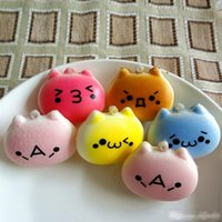 Wholesale squishy charm free resale online - 4cm Cartoon Cat Squishy Charms Kawaii Buns Bread Cell Phone Key Bag Strap Pendant Squishes new wholesales OEM high qualit