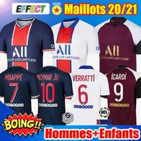 saint germain achat en gros de-Maillots de Foot Air Jordan PSG 20/21 MBAPPE KITS NEYMAR JR Paris Saint Germain ICARDI CAVANI Survetement Maillot de Foot 2020 2021 Ensembles Enfants Jerseys