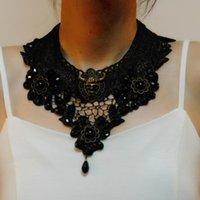 Wholesale black bijou resale online - NEW Necklace Black Lace Choker Necklace Charm Ribbon Wedding Bijou Collar Jewelry Hollow Velvet Short Chain Jewelry Collar