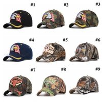 Wholesale camo tactical hat resale online - American Flag Baseball Cap Eagle Embroidery Snapback Camo Outdoor Sports Tactical Hats Versatile Outdoor Sunscreen Party Hat OWE2036