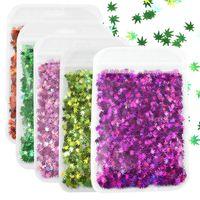 10g bag Holographic Multicolor Sequins Nail Art Glitter Flakes Shape Laser Maple Leaf Decorations Manicure 2021