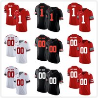 Wholesale Youth Mens Justin Fields Julian Fleming Any Name Any Number OSU Ohio State Buckeyes Home Red Black White Custom College Football Jerseys