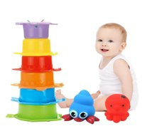 Wholesale cup stacks resale online - 11 Piece Bathroom Fish Fishing Toy Vinyl Material Pinch Called Animal Fish Stack Cup Bathing Bath Toys Abs Material Safe wmtwCK otsweet