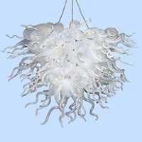 Wholesale supplier chain for sale - Group buy China Supplier Art Decor Handmade White Glass Hanging Chain Chandelier Hand Blown Glass Crystal Chandelier On Sale