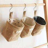 in stock creative cotton and linen desktop storage bag wallmounted storage hanging bag jute storage basket free