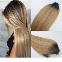 Wholesale taping hair extensions resale online - Tape In Human Hair Extensions Ombre Hair Brazilian Virgin Hair Balayage Dark Brown to Blonde Extensions Highlight Skin Weft