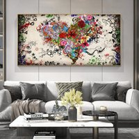 Wholesale flower pictures for walls resale online - Modern Abstract Canvas Oil Painting Colorful Heart Flowers Posters Prints Wall Art Pictures for Living Room Bedroom Cuadros Decoracion