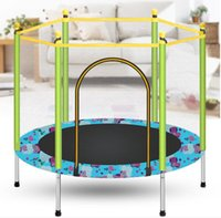 Wholesale indoor trampoline resale online - 47 Inch Kids Trampoline With Enclosure Net Safety Pad Jumping Mat Summer Exercise Kids Gift Fitness Equipment Outdoor Indoor wmtUoH