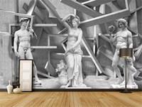 Wholesale wall wallpapers hd for sale - Group buy 3d Wallpaper Sculpture Digital Art Wall Painting HD Digital Printing Moisture Wall paper