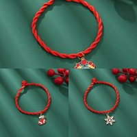 Wholesale animal friendship resale online - Charms Rinhoo Christmas Santa Claus Couple Bracelet Women Red Thread String Rope Jewelry Friendship Bracelets Unisex p1x