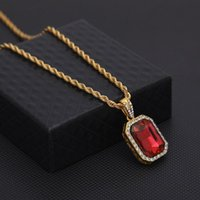 Wholesale mens ruby necklace for sale - Group buy Mens Mini Ruby Pendant Necklace Gold Cuban Link Chain Fashion Hip Hop Necklaces Jewelry For Men