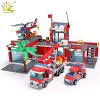 Wholesale fire bricks resale online - HUIQIBAO Blocks Toy Fire Station Model Building Blocks City Construction Firefighter Truck Educational Bricks Toys Child