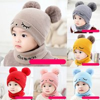 Wholesale hats for babies resale online - Winter Baby Knitted Hats Christmas Warm Caps Scarf Knitted Set Knitting Crochet Hat For Toddler Winter Warm Knit Hats Accessories M2982
