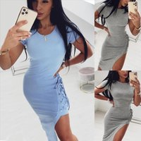 Wholesale sexy collars for ladies resale online - Sexy Slim Office Lady Sexy Party Dress Slit Strap For Slim Body Solid Color Dress With Round Collar Summer Women Bodycon Dresses