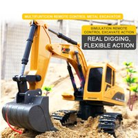 Wholesale electronic engineers for sale - Group buy RC truck channel backhoe remote control alloy excavator engineering vehicle model children s electronic
